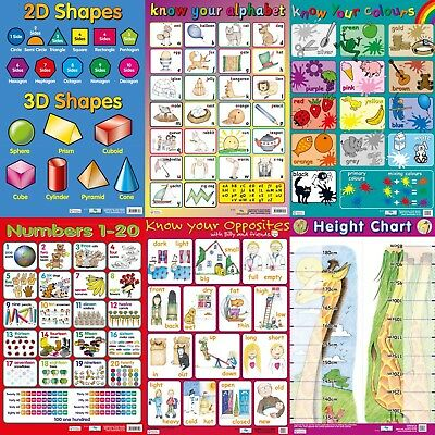 Early Learning Wallcharts / Posters . Height Chart / Numbers / Alphabet / - A2