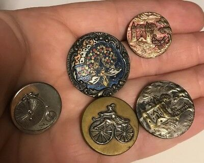 Rare Button Lot Antique Brass Woman on Peddless Bicycle Brass Paris A.P. Scovill