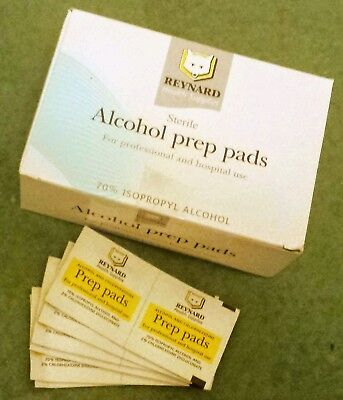 2 boxes New Reynard Alcohol Prep Pads Antiseptic Wipes Sterile (400 swabs)