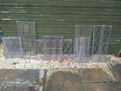 15 plain leaded light glass window panels. From old furniture