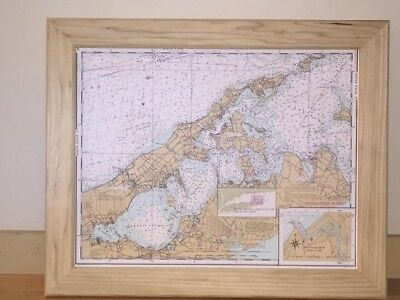 Long Island nautical chart in a solid wood frame