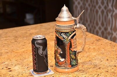 Large 1 Liter German Beer Stein with Pewter Lid