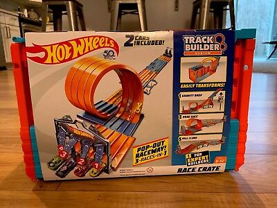 Hot Wheels - Track Builder System Race Crate 4 Lane Plus Cars Blue And Orange