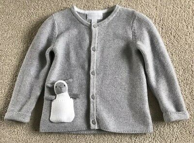 The Little White Company Grey Cardigan with toy, Age 12-18 Months Boys Girls EUC