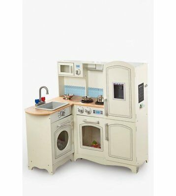 Deluxe Xxl Wood Childrens Kids Role Play Toy Wooden Kitchen Set With Cooker Hood