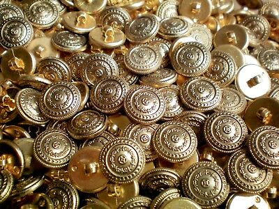 W632 15mm 24L Gold Polished Plastic Domed Shank Costume Craft Button Buttons