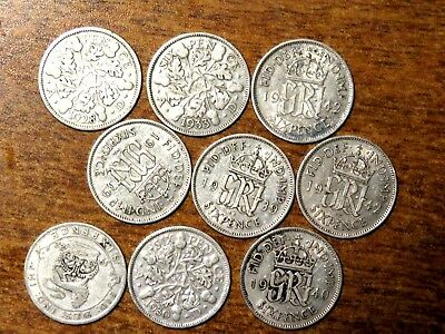 NINE (9) UNITED KINGDOM SILVER SIX PENCE COINS 1920's - 19320's - 1940's LOT # 1
