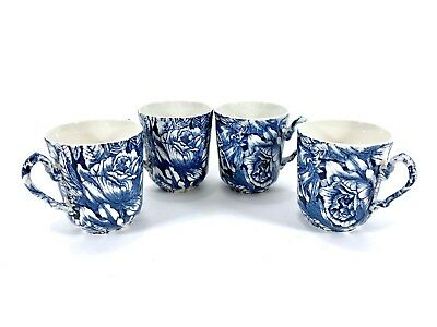 VTG Blue White Tea Cups Made in England Mugs Floral Painted Ceramic Set of 4