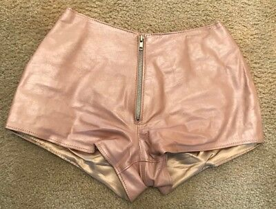 Vintage Redskins Metallic Pink Leather Hot Pants Shorts New Unworn M Fully Lined