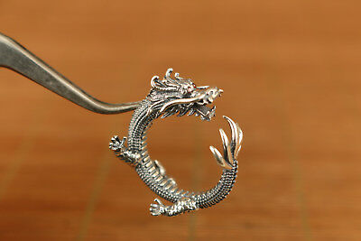 fashion 100% 925 silver hand carved dragon ring