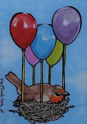 ACEO 2016 Original Pen ProMarkers Drawing Robin Art The Ballon Bird Sue Flask