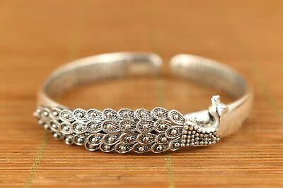 34g are S 925 Solid Silver Old Handmade Fine peacock Statue Bracelet