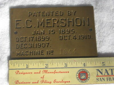 Vintage Brass Plate Plaque PATENTED BY E. C. MERSHON 1895 - LUMBER RELATED ?