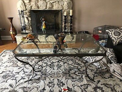 Wrought iron and glass vintage cocktail table, labarge designer, beveled glass