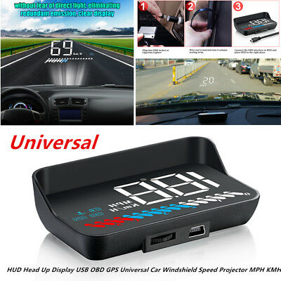 HUD Head Up Display USB OBD GPS Function Universal Car Windshield SpeedProjector