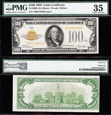 Awesome *RARE* Bold & Crisp Choice VF++ 1928 $100 GOLD CERTIFICATE! PMG 35! 4828