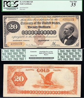 Amazing RARE (Fr. 1176 Brown Seal) Choice VF+ 1882 $20 GOLD CERTIFICATE! PCGS 35