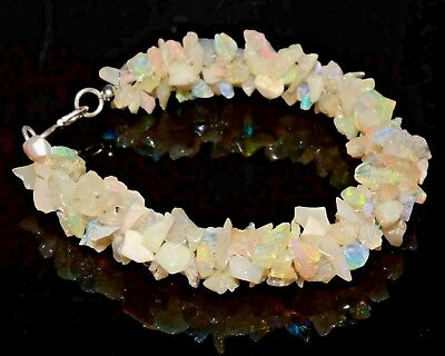 "O-0918 Natural Ethiopian Fire Opal Uncut Chips Nugget Bead Rope 51Ct 7"" Bracelet"