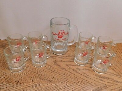 Vintage Set of 9 TWIN KISS ROOT BEER Full Size & Mini Glass Mugs