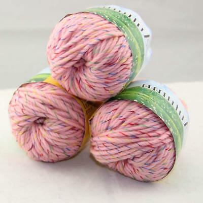 Sale Lot 3 balls x 50g Quick Hand Knitting Yarn Soft Worsted Wool Silk Velvet 32