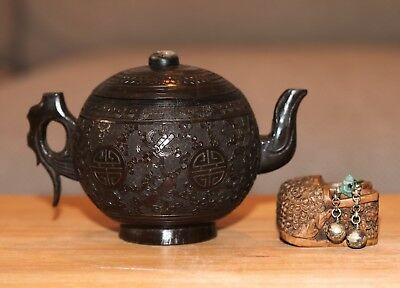 Antique Chinese carved coconut teapot & Walnut Jade Shoes with bells, QING, RARE