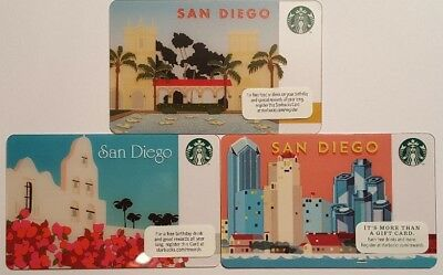 Lot of 3- NEW San Diego Mission Skyline 2011-2014 Starbucks Gift Cards