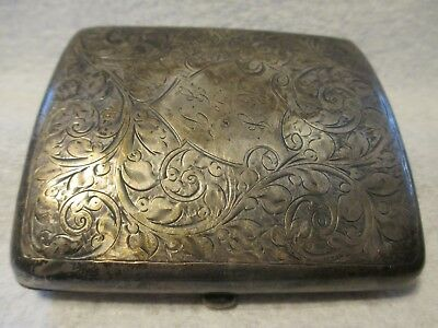 Antique Solid Silver Curved Cigarette Case