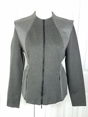 NWT ARMANI EXCHANGE womens size L gray pronounced shoulders rayon stretch jacket