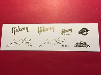 Gibson with Les Paul Waterslide Headstock Decals with Custom Shop Assortment