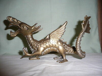 Vintage large&heavy cast solid brass Chinese dragon statue,L 22 cm.