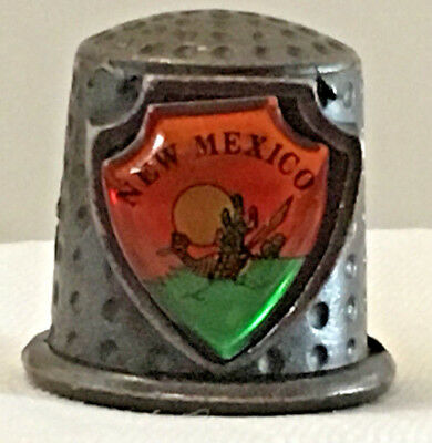 Collectible Thimble, Pewter Look, New Mexico, with Roadrunner & Cactus on Shield