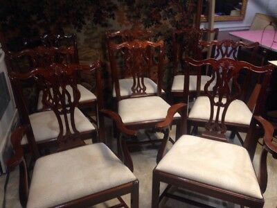 SET OF (8) Wellington  Hall LTD CHIPPENDALE ANTIQUE STYLE MAHOGANY DINING CHAIRS