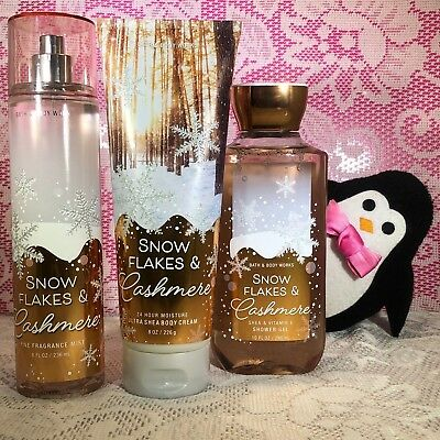 Bath and Body Works Snow Flakes and Cashmere Full Size Set Mist Body Cream Gel