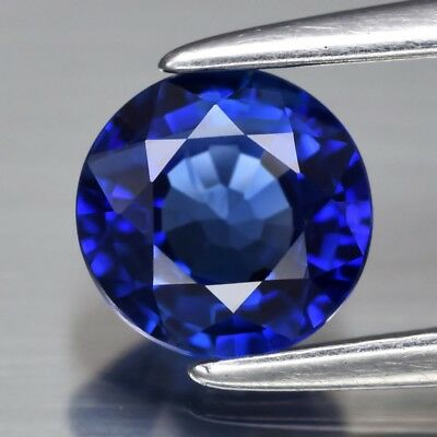 VVS 0.72ct 5.3mm Round Natural Blue Sapphire Ceylon, Heated Only