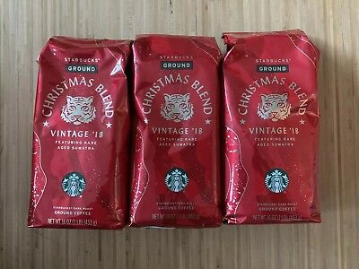Starbucks Christmas Blend Vintage 2018 Ground Coffee 1lb x 3 Bags NEW