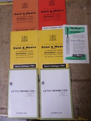 collection of GUNN and MOORE LTD CRICKET CATALOGUES FROM THE 1960s