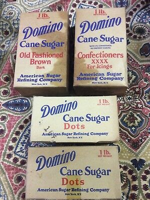 Four Domino Cane Sugar 1 lb Boxes: Brown, Confectioners & 2 Dots