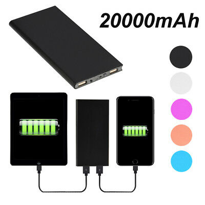 Ultra Thin 20000 mAh Portable External Battery -Power Bank for Cell Phone-Black