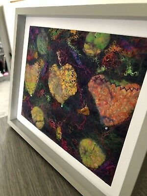 Framed Nuno Wet Felted Original Abstract Art Picture Sari Silks Wool Felt HEARTS