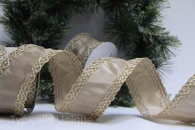 Christmas Ribbon India Jane 10 Yards Luxury Wire Edged Taupe Gold Gift Wrapping