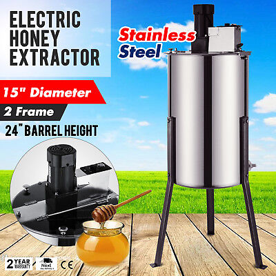 """2 Frame Electric Honey Extractor 2"""" Outlet 120 W Motor Stainless Steel POPULAR"""