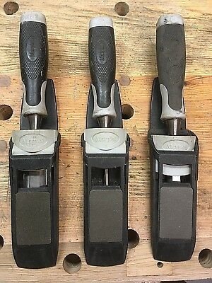 Marples Bevel Edge protouch chisels with scabbard and sharpening plates x 3