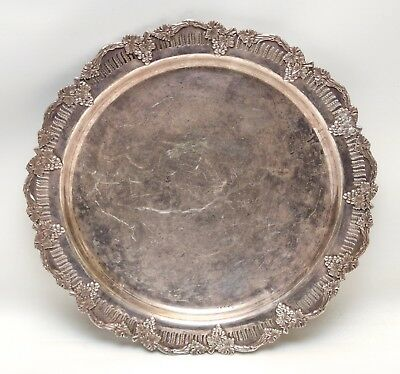 Vintage Sheffield Silverplate Round Serving Tray Ornate