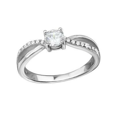 Melchior Jewellery Sterling Silver Intertwining SOLITAIRE ENGAGEMENT CZ RING