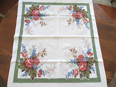 Small Tablecloth Table Topper Pink Cabbage Roses Daisies Forget Me Knots 1950s