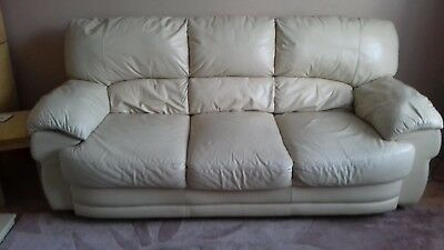 CREAM LEATHER 3 And 2 Seater Sofa - £41.00 | PicClick UK