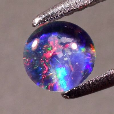 0.49ct 5mm Round Cab Natural Floral Flash Play-Of-Color Crystal Triplet Opal