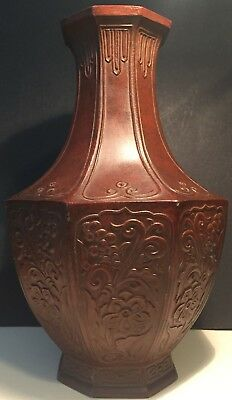 Antique Japanese Cast-Iron Octagonal Zinc Vase With Signed