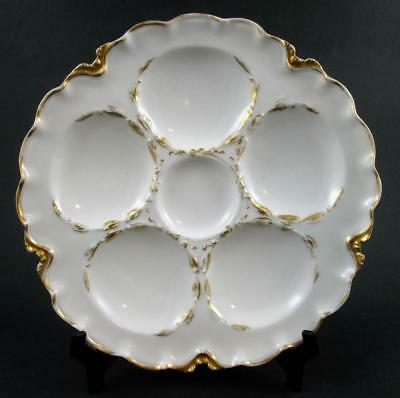 Antique Haviland GOLD trim - 5 Well - OYSTER PLATE - scalloped edge - FRANCE