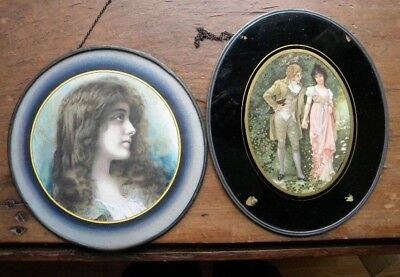Pair (2) Antique FLUE COVERS VICTORIAN LADY & COURTING 1906 Need Chains Fixed